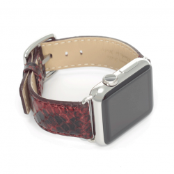 Sangria red python printed leather apple watch band handmade in Italy