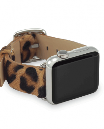 Spotted Chetah cavallino leather apple watch band handmade in Italy