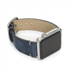 Blue night vintage leather band handmade in Italy apple watch band | stainless case