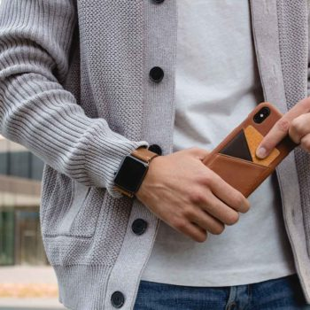 barrel-Iphone-light-brown-leather-case-closeup-with-a-grey-pullover-in-background