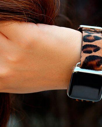 calf-hair-spotted-cheetah-Apple-watch-band-woman-denim