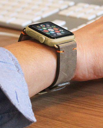 dried-herb-green-vintage-orange-cotton-Apple-watch-leather-band-denim