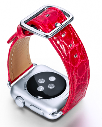 Lava red crocodile leather Apple watch band handmade in Italy with back case