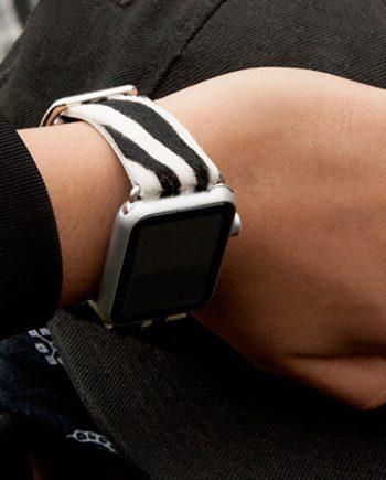 stripey-black-white-calf-hair-Apple-watch-leather-band