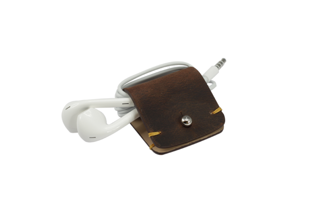 Headphone holder Old-Brown-Down vintage leather made in Italy