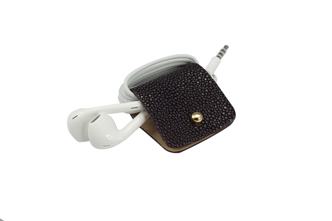 Headphone holder Purple-Rain galuchat leather made in Italy