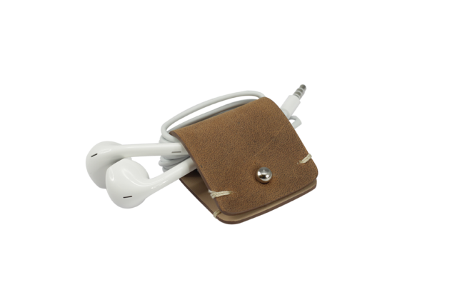 Headphone holder Smoked-Walnut vintage leather made in Italy