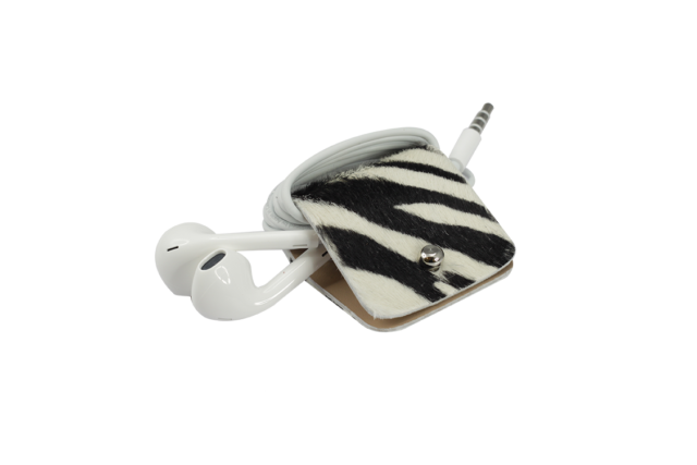 Headphone holder Stripey cavallino leather made in Italy