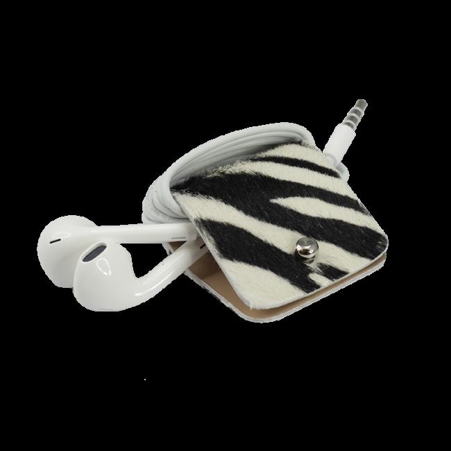 Headphone holder Stripey cavallino leather made in Italy