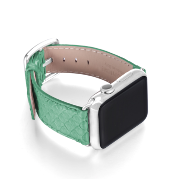 Pillow Mint green python apple watch band handmade in Italy