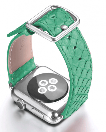 Pillow Mint green real phyton apple watch band handmade in Italy