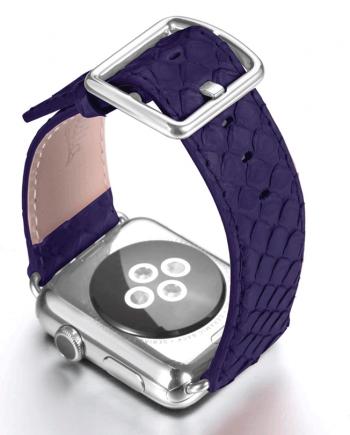 Subzero blue real python apple watch band handmade in Italy