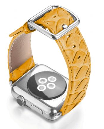SuperNova yellow real python apple watch band handmade in Italy