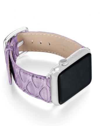 Vineyard Passage violet python apple watch band handmade in Italy