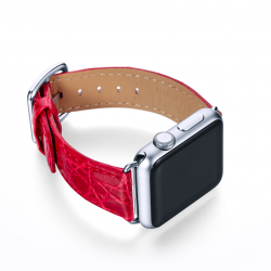 Lava red crocodile leather Apple watch band handmade in Italy with right case