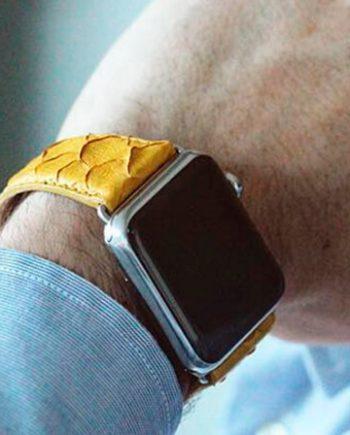 supernova-yellow-real-pythion-Apple-watch-band-man-casual