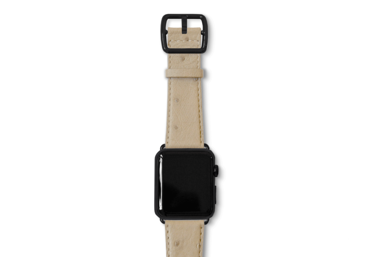Grey ostrich apple watch band handmade in Italy with a black steel case