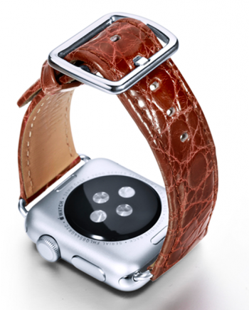Golden Brownie crocodile leather Apple watch band handmade in Italy with back case