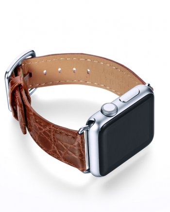 Golden Brownie crocodile leather Apple watch band handmade in Italy with right case