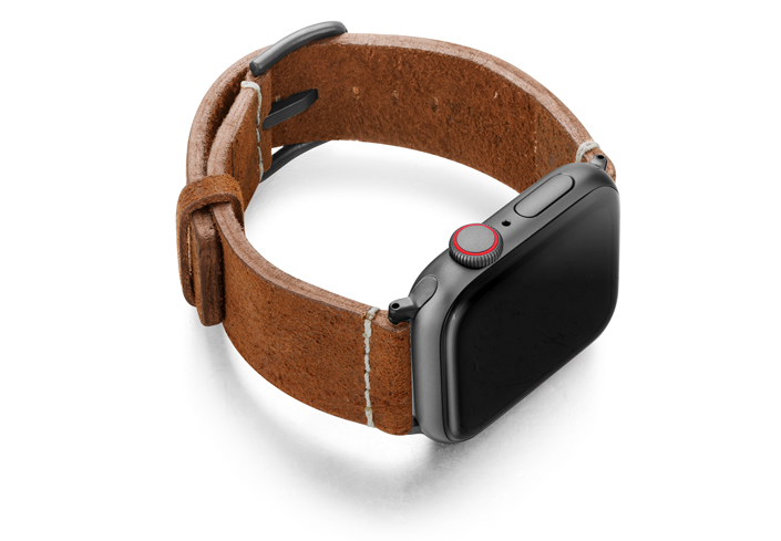 Cordwood-Apple-Watch-brown-heritage-band-with-space-grey-case-on-right
