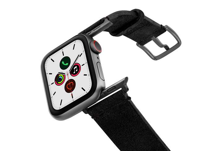 Forest-Black-Apple-Watch-heritage-leather-band-on-air-space-grey-adapters
