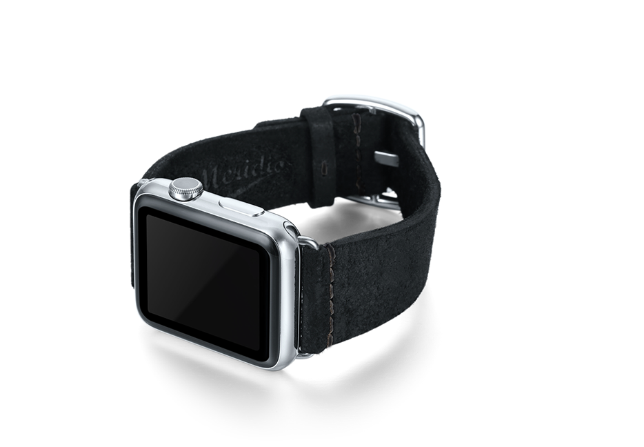 Forest Black heritage Apple watch band with left steel display