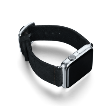 Forest Black heritage Apple watch band with steel right display