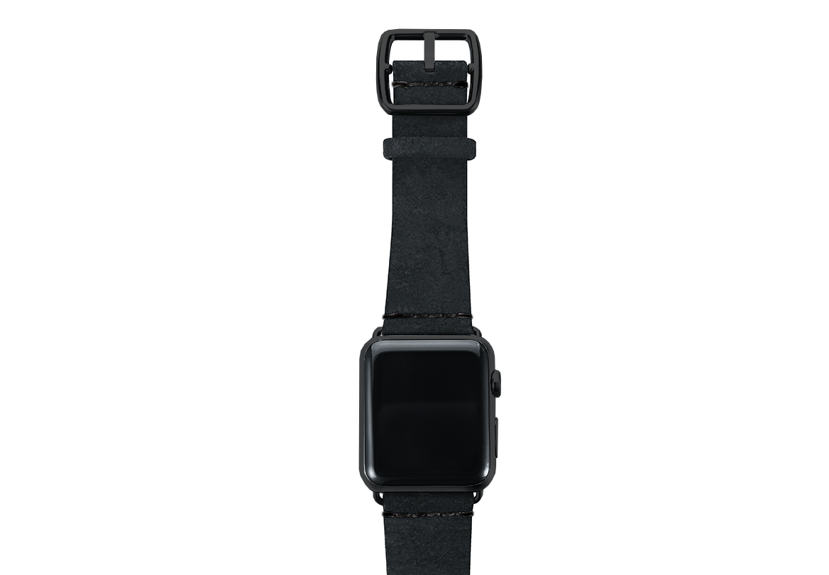 Forest Black heritage leather Apple watch band with black steel top case