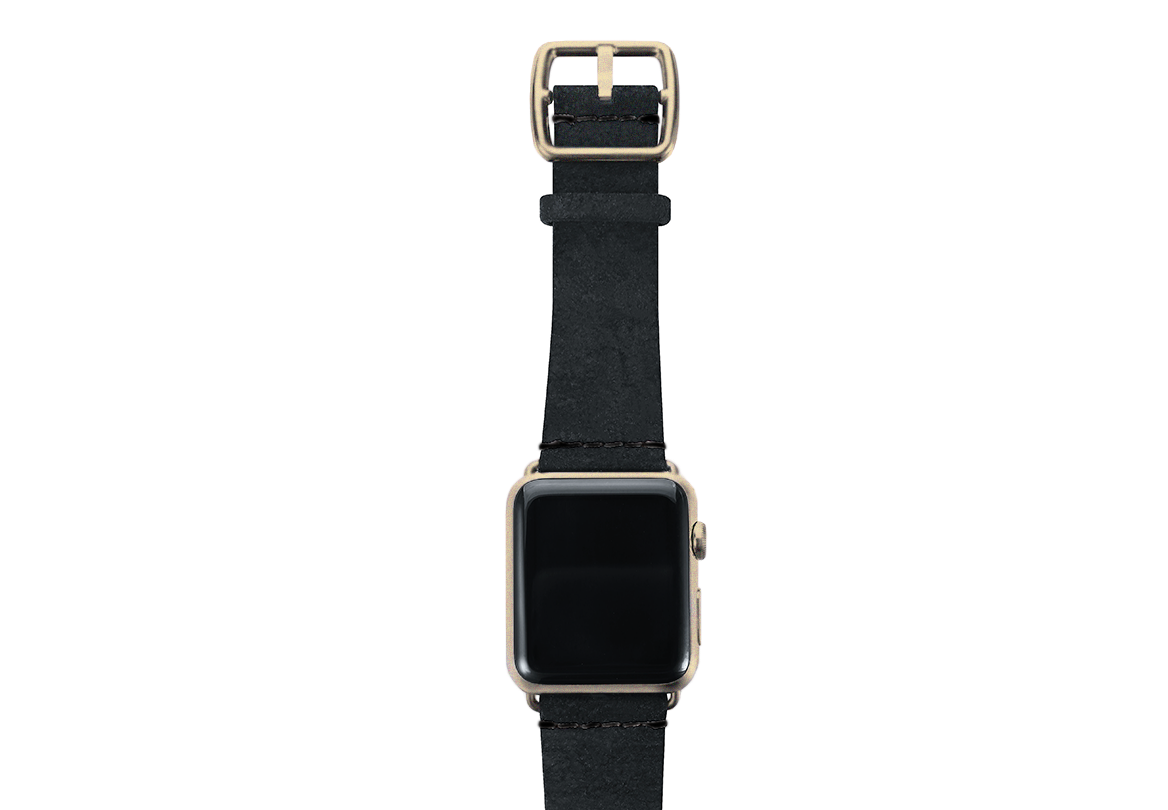 Forest Black heritage leather Apple watch band with yellow gold top case