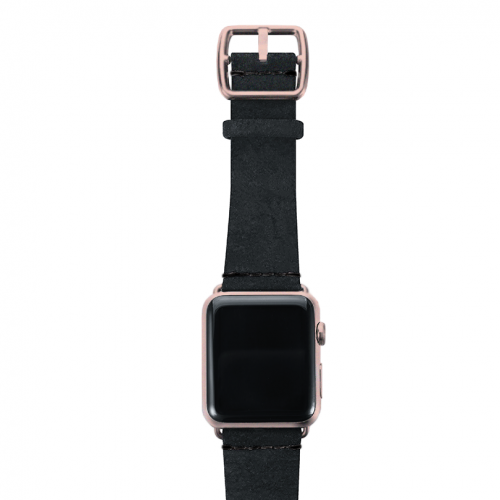 Forest Black heritage leather Apple watch band with rose gold top case
