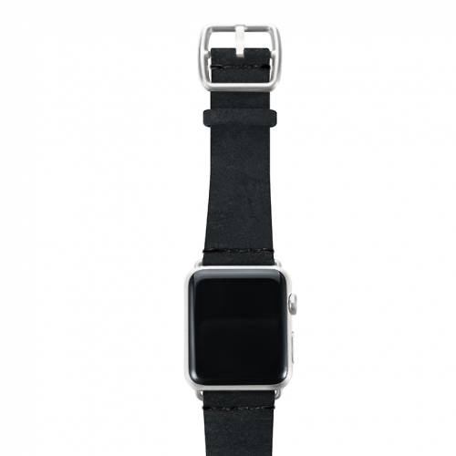 Forest Black heritage Apple watch band with silver top case