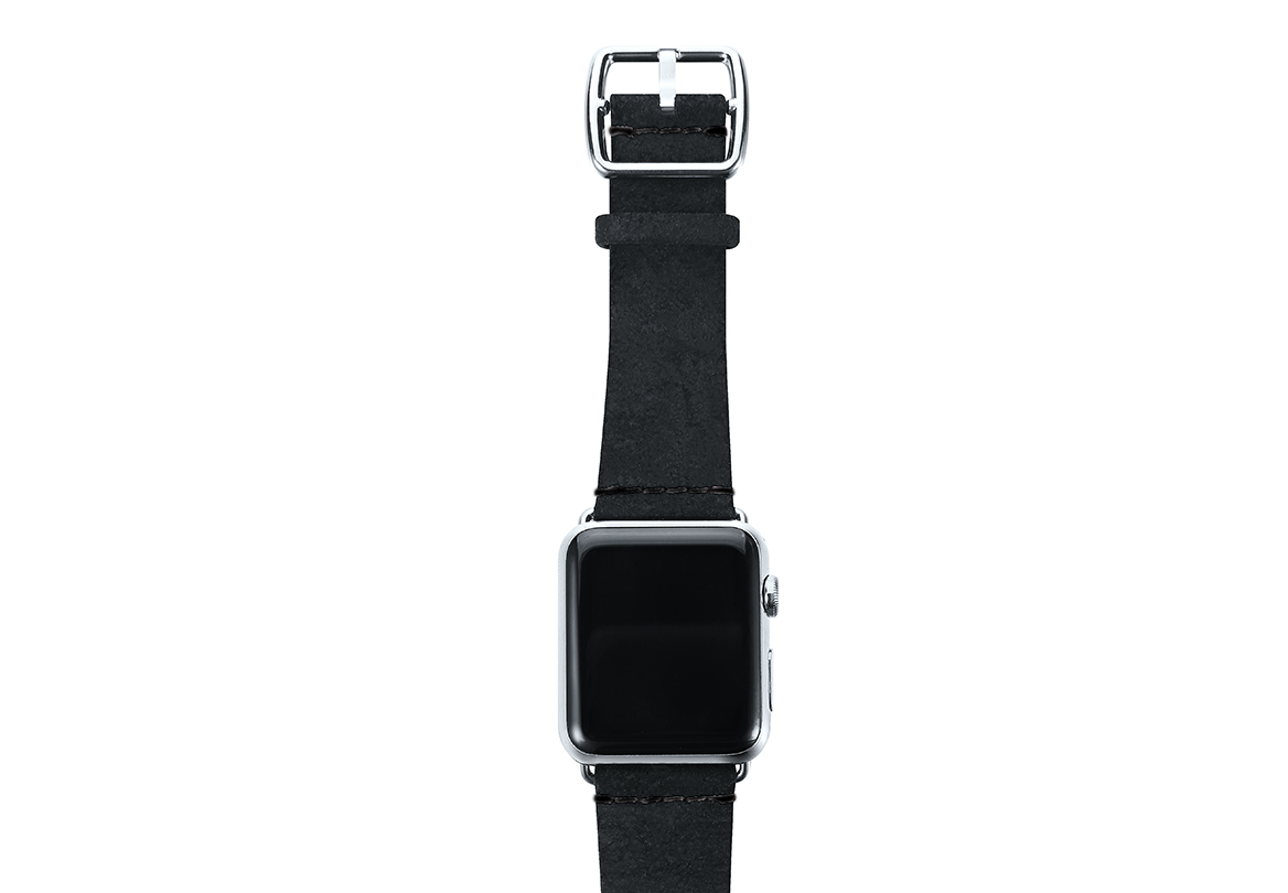 Forest Black heritage Apple watch band with steel top case