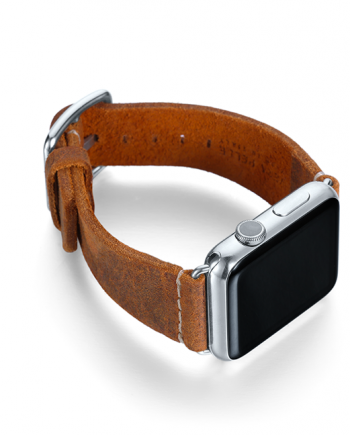 Camel Apple watch band vintage leather handmade in Italy with right display