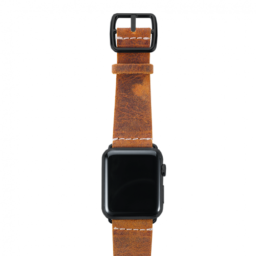 Camel Apple watch band vintage leather handmade in Italy black case
