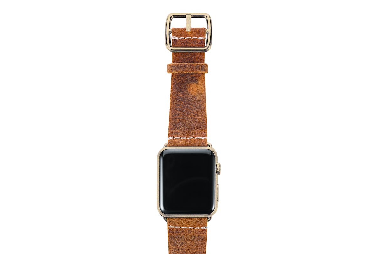 Camel Apple watch band vintage leather handmade in Italy yellow gold case