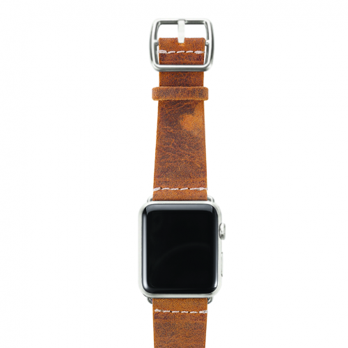 Camel Apple watch band vintage leather handmade in Italy silver case