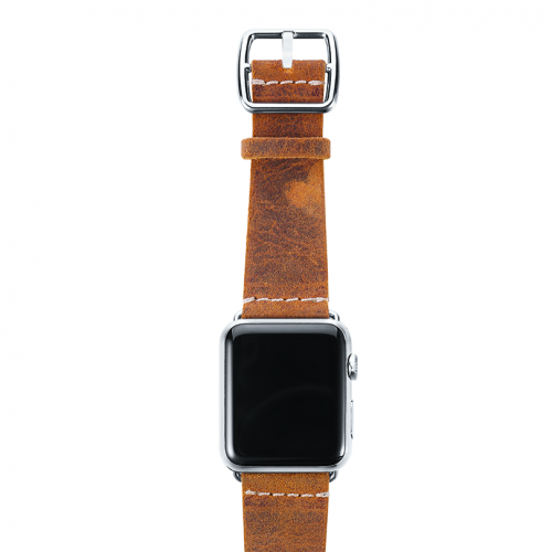 Camel Apple watch band vintage leather handmade in Italy stainless case