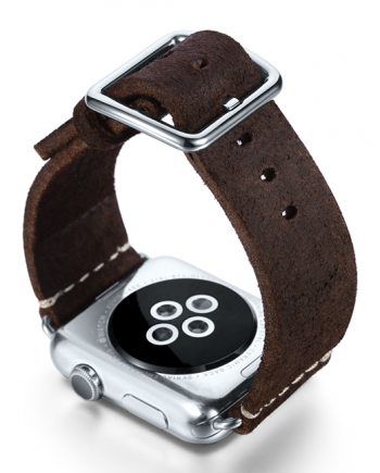 Brown heritage Apple watch band handmade in Italy with back case