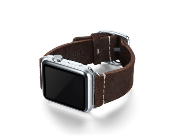 Brown heritage Apple watch band handmade in Italy with left display