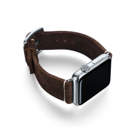 Brown heritage Apple watch band handmade in Italy with right display