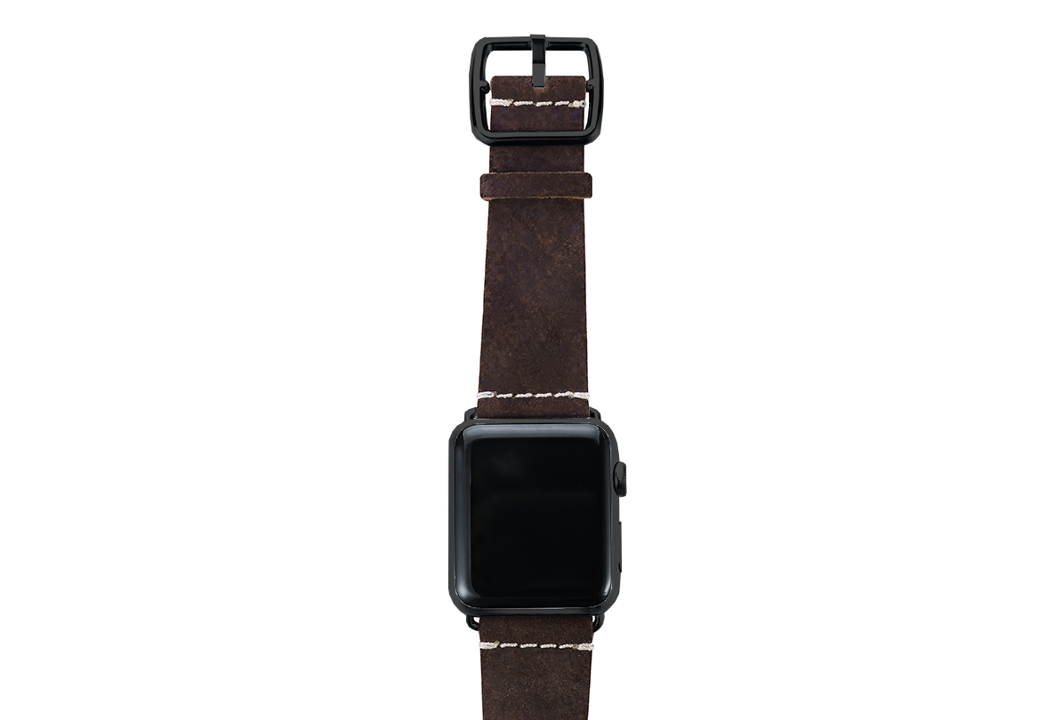 Brown heritage Apple watch band handmade in Italy with top steel black case