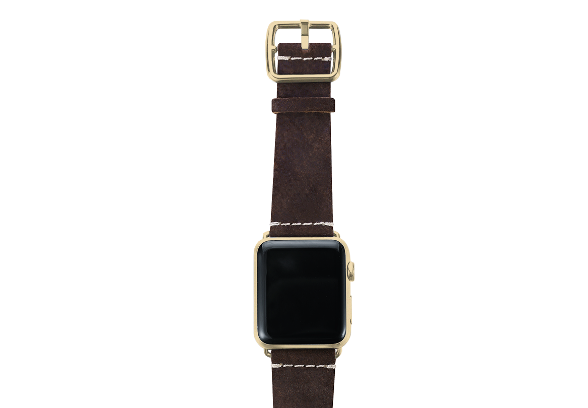Brown heritage Apple watch band handmade in Italy with top yellow gold case