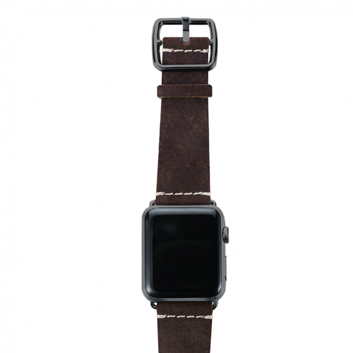 Brown heritage Apple watch band handmade in Italy with top space gray case