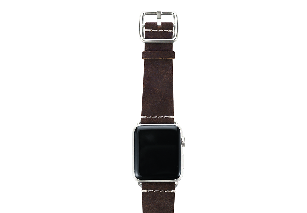 Brown heritage Apple watch band handmade in Italy with top silver case
