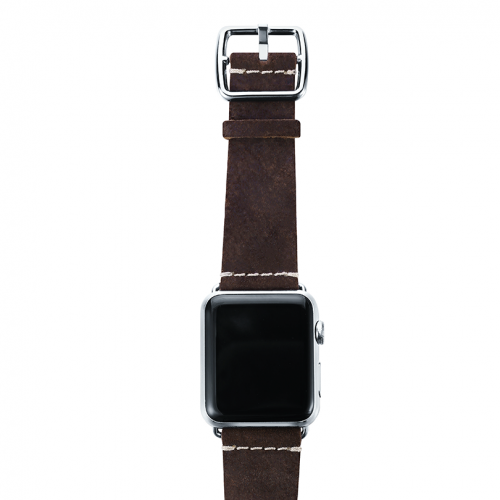 Brown heritage Apple watch band handmade in Italy with top steel stainless case