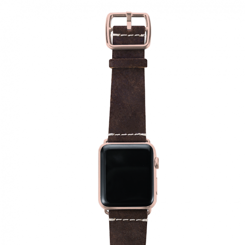 Brown heritage Apple watch band handmade in Italy with top rose gold case