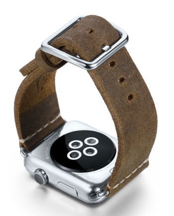 Green light Apple watch band handmade in Italy with steel back case