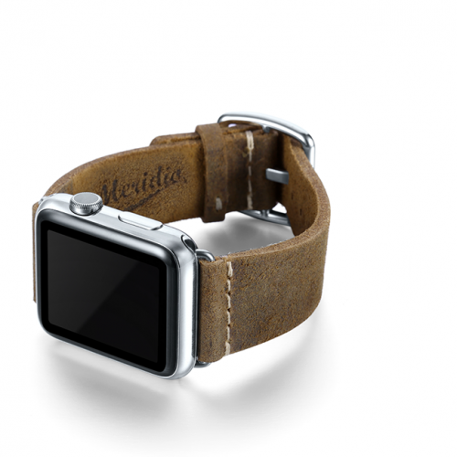 Green light Apple watch band handmade in Italy with steel left display