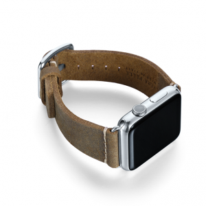 Green light Apple watch band handmade in Italy with steel right display