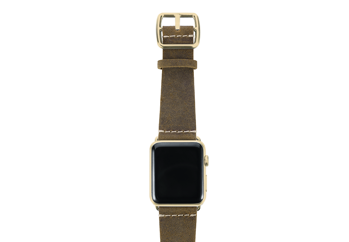 Green light Apple watch band handmade in Italy with yellow gold case on top